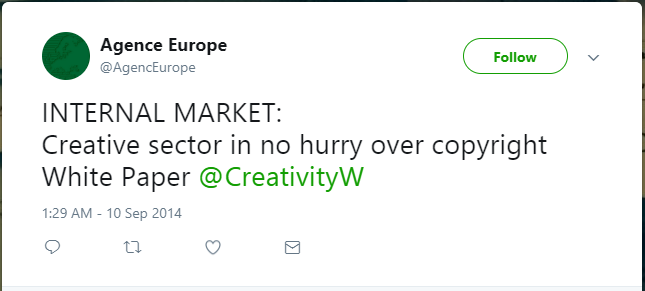 AGENCE EUROPE: CREATIVE SECTOR IN NO HURRY OVER COPYRIGHT WHITE PAPER
