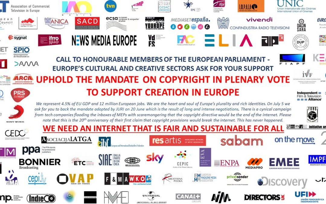 CW! asks MEPs to uphold JURI mandate on Copyright Directive